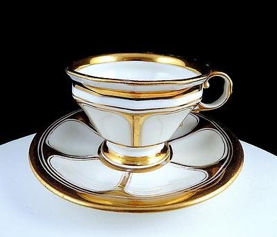 "Kpm Signed Germany White And Gold Antique Footed 2 1/2"" Cup And Saucer 1885"