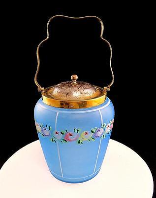 """Depression Era Blue Frosted Glass Hand Painted Roses Silver Lid 7"""" Biscuit Jar"""