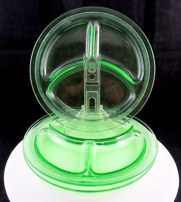 """L.e. Smith Homestead Vaseline Glass 3 Pc Divided 9"""" Grill Plates 1927-1931"""
