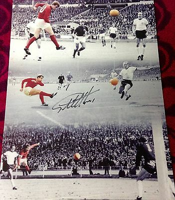 Sir Geoff Hurst Hand Signed 1966 England World Cup Final Hat-Trick Montage photo