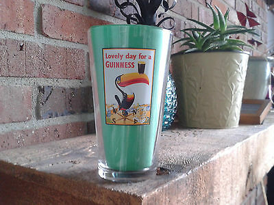 New Lovely Day For A Guinness Pint Glass Painted Toucan Sign Label Irish Beer