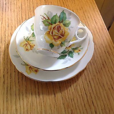 5 Trios Available Vintage Royal Stafford Bone China Yellow Rose