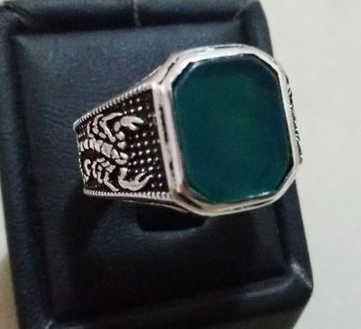 Turkish 925 Sterling Silver Men's Ring with Stone  Size 9.25  #301