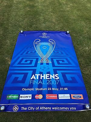 Champions League Final 2007 Official Banner HUGE Poster Liverpool Milan Uefa