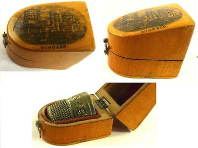 Antique 19Thc Mauchline Ware Thimble In Case Windsor Castle 3139