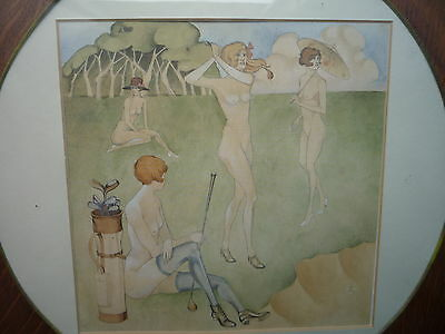 Original Erotic Golf Course Framed Picture Print Ball Club Tee