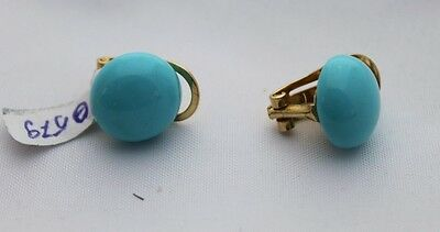 Natural Turquoise Earrings, 18K gold, round 12 mm, omega clasp.