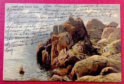 CPA. ECKENBRECHER. 1904. Logan rock. Land´s End. England. Cornwall. Mer. Voilier