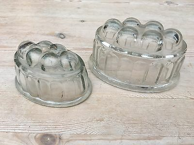 Vintage glass jelly mould, set of two, great condition