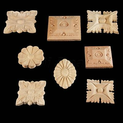Wood Carved Onlay Applique Door Working Frame Flower Decal Square European Style