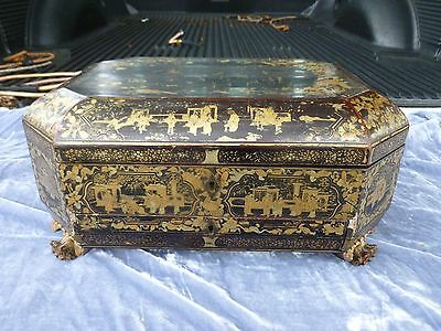 Exquisite 19Thc Chinese Export Chinoiserie Lacquer Sewing Box