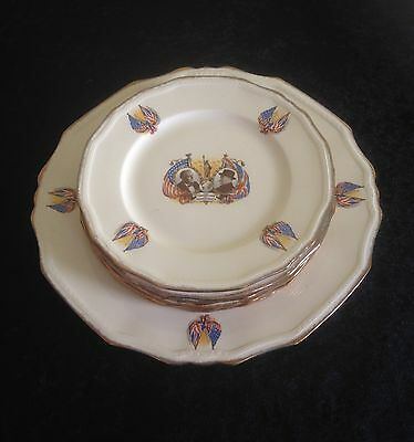 Rare set WWII Alfred Meakin Plates Champions of Democracy Roosevelt & Churchill