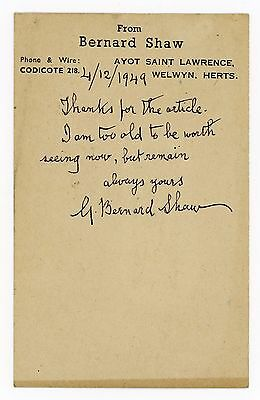 1949 | GEORGE BERNARD SHAW | old age | touching handwritten postcard | SIGNED