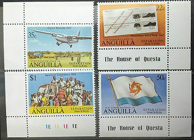 124.anguilla Set/4 Stamp Separation From St. Kitts, Planes, Flags. Mnh