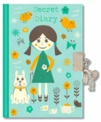 Childrens Week To View Secret Diary With Lock And Key - 3621 Green