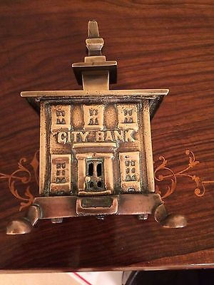 Antique Vintage Reticulated Cast Brass City Bank  Building Coin Bank English