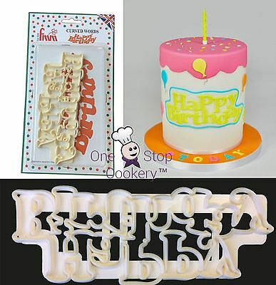 FMM Curved Words HAPPY BIRTHDAY Cutter Sugarcraft Cake Decorating