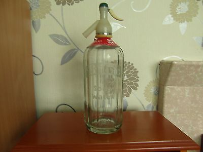 Vintage/retro 60's 70's Britvic   Soda  Syphon In Glass With A Cream/green Top