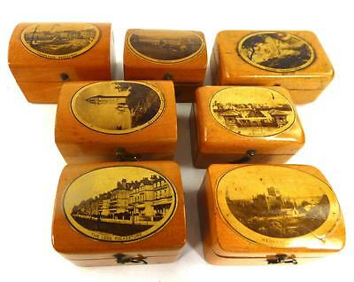 Seven Antique Mauchline Ware Hinged Trinkit Ring Boxes Photographic Scenes