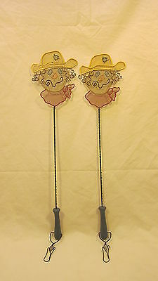 2 Home Made Metal Scarecrow Fly Swatters Country Home