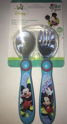 New The First Years Disney Mickey Mouse Toddler Fork & Spoon Set BPA FREE