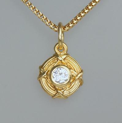 "Theo Fennell 18ct Gold Diamond Pendant 16"" Chain Rare Vintage With Original Box"