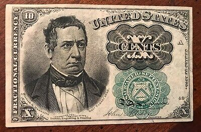 1874 10 Cents Fractional Currency - Green Seal Crisp