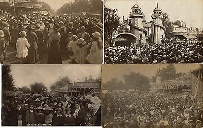 St Giles Fair, Oxford.  Various Years.  5 Different Photographic Cards.    RPPC.