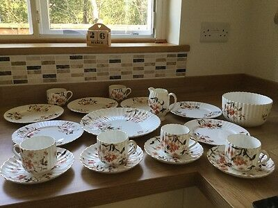 Antique Vintage Victorian 1880s Fluted Hand-painted Bone China Tea Set
