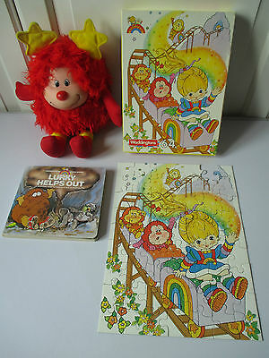 """13"""" Romeo Soft Toy Rainbow Brite Jigsaw Puzzle & Lurky Helps Out Board Book VGC"""