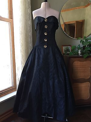 50s Dress Black Shooting Stars Gold Sequin Buttons Evening Gown 1950s Vintage