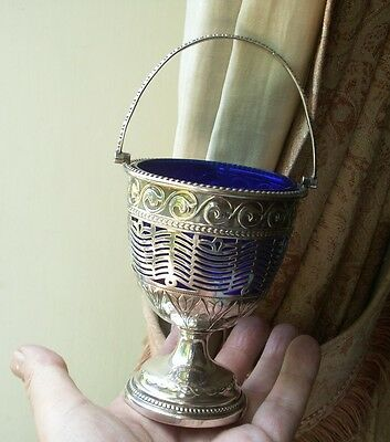 Old Antique English Silver Plated Cobalt Glass Georgian Style Sugar Bowl Bon Bon