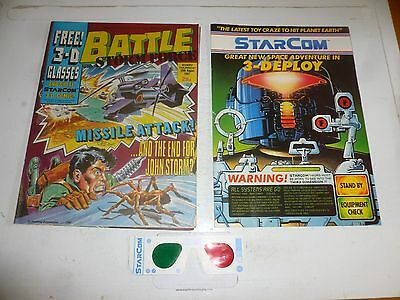 BATTLE with STORM FORCE Comic - Date 29/08/1987  Inc 3-D Glasses & STARCOM Comic