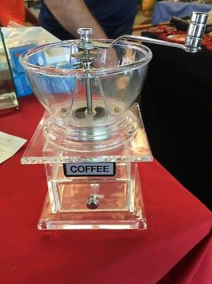 Ultra Rare Mid Century Modern Clear Lucite Hand Crank  Coffee Mill Grinder