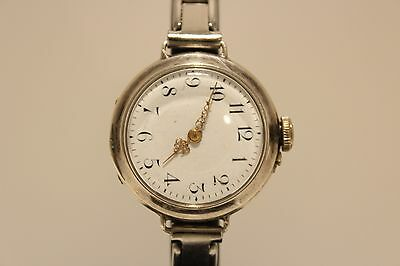 Antique Wwi Era Beautiful Swiss Solid Silver 0.800 Ladies Watch/porcelain Dial