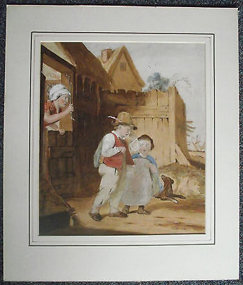 Stunning original antique SIGNED watercolour painting. CHILDREN IN TROUBLE 1886