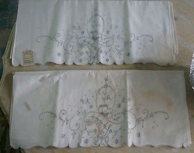 Madeira Portugal Hand Embroidery Two Pillow cases original labels never used