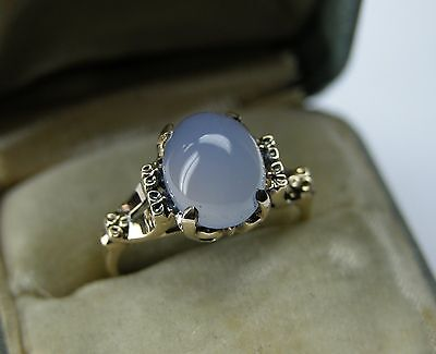 1940S Art Deco Natural 3 Ct Blue Chalcedony 14K Gold Ring  Vintage Antique