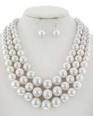 Three Layers White Faux Pearl Gradual Necklace Earring Set