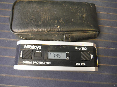 MITUTOYO PRO 360, 950-315 ELECTRONIC DIGITAL PROTRACTOR LEVEL & Soft Case
