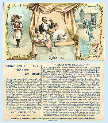 Arbuckle Coffee 1893 Trade Card Sports & Pastimes #21 Austria Hoop Racing Opera