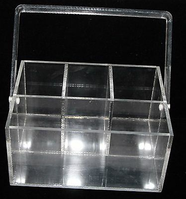Vintage Lucite Acrylic Clear Silverware & Napkin Buffet Caddy with Handle