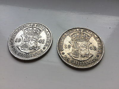 2 x South Africa 2.5 Shillings 1941/1942 80% Silver Coins Scrap/Collect