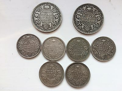 Silver Rupees Nice Condition Collectable India-British Coins Not Scrap