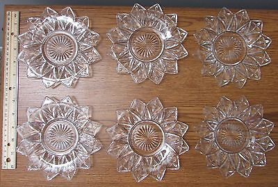 """Vintage 6 - Petal Clear Small 6.5"""" Bread Butter Plate Federal Indiana Glass"""