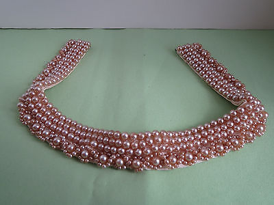 1960s Faux Pearl Detachable Dress Sweater Accent 4 Row Collar - Made in Japan