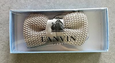 Lanvin Silver Alber Knitted Silk Bow Tie, Brand New In Box