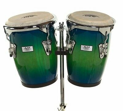 """AM Percussion 9"""" & 10"""" Bongo Conga Combo Set with Stand - BLUE GREEN REAL SKIN"""