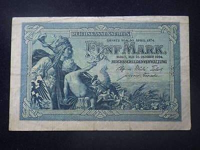 * Germany 1904 5 Mark Banknote (gFine) A1143974           B...117