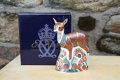 """Royal Crown Derby Paperweight """"Fawn"""". Gold Stopper & Box."""
